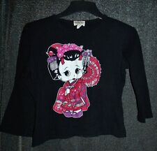Vtg 90s black top Japanese doll Size Med