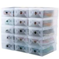 Clear Plastic Shoe Storage Transparent Stackable Tidy Organizer Box  NEW