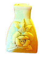White Rose Hand Applied 3D Porcelain Ceramic Bud Vase Vintage