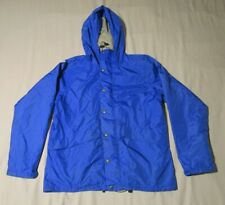 LL Bean Mens Gortex Blue Hooded Windbreaker Jacket Coat Full Zip & Snap Medium