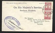 S.RHODESIA, KGVI, OHMS COVER TO UK, IMPERIAL TRADE CORRESPONDANT CACHET, UNUSUAL
