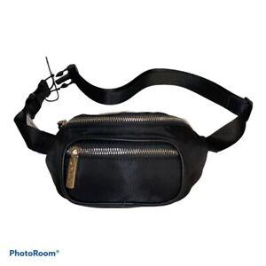 DKNY Black & Silver Mini Nylon Belt Bag Adjustable Fanny Pack One Size NWT