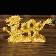 6.3'' Chinese Geomancy Gold Dragon Figurine Statue Ornaments for Luck & Success