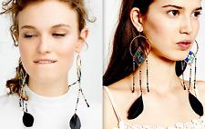 ❤️ beautiful ❤️ ZARA EXTRA LONG LARGE BEAD TASSEL BOHO CHANDELIER DRESS EARRINGS