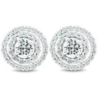 1Ct Genuine Diamond Double Halo Studs Screw Back Earrings White Gold 10.2MM