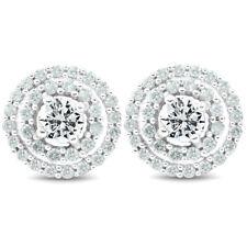 1 CT Auténtico Diamante Doble Halo Tachuelas grandes pendientes de mujer de oro blanco 10.2MM