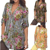Women Shirt Tops Vintage Floral Print V-neck Tunic Tops Plus Size Blouse Tops