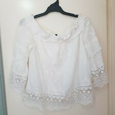 Forever New Size 14 White Embroidered Lace Boho Off Shoulder Bell Sleeve Top