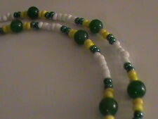 Green Bay Packer Colors Eyeglass Holder with Green Aventurine Gemstone Beads