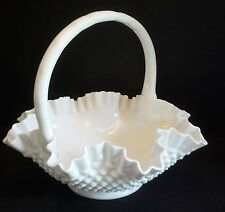 FENTON VINTAGE EXTRA LARGE White Milk Glass Hob Nail Crimmped RUFFLED Basket