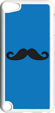 Blue and Black Mustache Design on iPod Touch 5th Gen 5G Clear TPU Case Cover