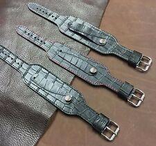 Size16/18/20/22mm Cow Leather Alligator Grain Bund Style Cuff Watch Strap #102A