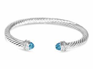 DAVID YURMAN 5MM BLUE TOPAZ DIAMOND STERLING SILVER CUFF BRACELET - SMALL