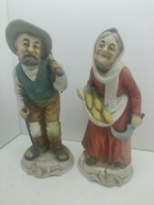 "Vintage Napcoware Old Man With Pipe & Old Woman Ceramic Figurines 6.5"" Tall"