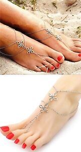 Woman Double Layers Knot TWO  Silver Anklet Chain Ankle Beach Foot Jewelry