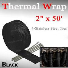 "2"" x 50FT Exhaust Header Fiberglass Heat Wrap Tape Steel Ties Black For Lincoln"