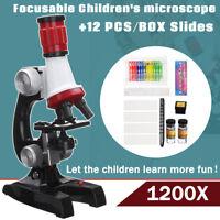 Biological Microscope Monocular 100X 400X 1200X+12Pcs Prepared Microscope Slides
