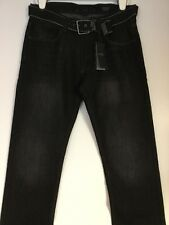 PD & C PAPER DENIM & CO BLACK MEN SLIM STRAIGHT BELTED JEANS W33 L30