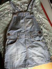 Osh Kosh Jean Jumper Vestbak Striped Dress Sz 3T