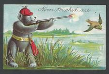 Postcard Ottoman Litho Bear Hunting Duck Fantasy Dressed Animals Embossed