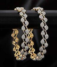 Indian Ethnic Bollywood Leaf Designer Gold Tone Zircon Bangle Bracelet Polki Set