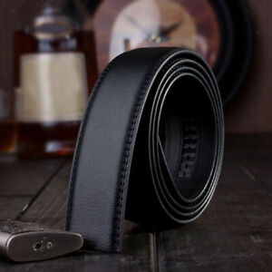 1pcs Mens Black Leather Waist Strap Belts Automatic Replacement No Buckles 120cm