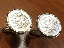 Vintage 1960s Swedish Crowns Coat of Arms Sweden Silver Coin Cufflinks + Box!