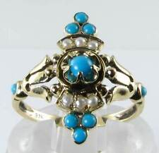 DIVINE LONG 9K GOLD VICTORIAN INS TURQUOISE & PEARL RNG