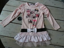T-shirt Tunique rose imprimé cupcakes, chatons, fillette PUNKIDZ T 5 ans