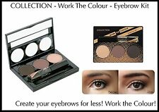 COLLECTION WORK THE COLOUR EYEBROW KIT BROWS CLEAR MASCARA PENCIL LIGHT DARK HD