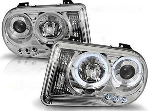 Angel Eyes Scheinwerfer Set Chrysler 300C BJ 05-10 Klarglas / Chrome