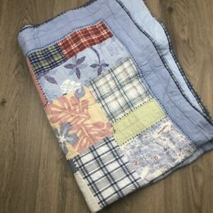 Pottery Barn Kids Cot Quilt Blue Patchwork Tropical Madras Check
