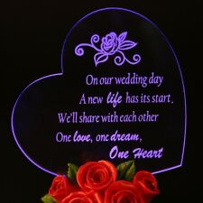 "LED Sweet Heart With Rose Wedding Cake Topper Resin 5-3/4"" X 5"""