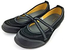 8670cee58f6e Womens Lands End Mary Janes Black Suede Leather Shoes Sz 7B Slip On Flat  Sneaker