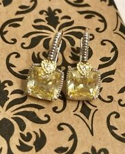 JUDITH RIPKA La Petite Cushion Cut Canary Crystal Drop Earrings