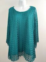 Women's Frazzle Long Sleeve Tunic Lace Overlay Size L Teal
