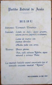 Cuba Menu 1957 w/Cerveza Polar Beer, Reloba Cigars - 'Partido Judicial de Arzua'