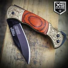 "5.25"" Mini COWBOY Western Ornate CHERRY WOOD Handle Folding Pocket Knife +SHEATH"