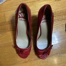 Women's 7M Fergalicious Bright Red Faux Patent Leather Bow Peep Toe Pumps