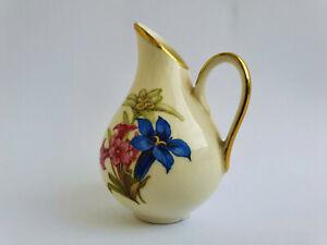 Porzellan Kännchen Milchkännchen Mini Vase | Vintage Elfenbein Goldrand Blumen