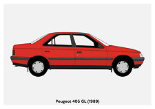 POSTER - PEUGEOT 405 - (A4 A3 A2 sizes) Art Print Car RENDER