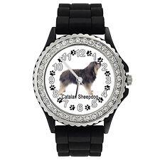 Catalan Sheepdog Crystal Rhinestone Mens Ladies Silicone Band Wrist Watch Sg204P