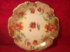 Beautiful Antique Limoges Hand Painted Poppies & Leaves Large Wall Platter, L363