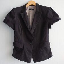 Cue Power Shoulders Textured Black & White Polka Dots Short Sleeve Jacket sz 12