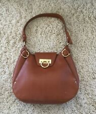 Salvatore Ferragamo Women's Handbag Hobo Cognac Brown Gancini Shoulder Handbag