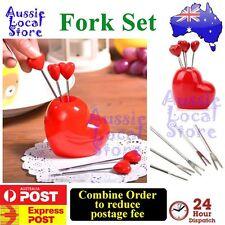 Fork Set Stainless Steel Red Heart Fruit Household Kitchen Tool Holder Dessert