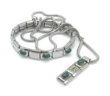 Italian Charm Necklace & Bracelet Stainless Steel Links 18K Stone Enamel Tree