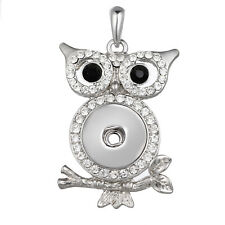 5pcs/Lot  OWL DIY Crystal Snap Jewelry Pendant For 18MM Ginger Snaps Buttons