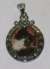 RARE WILLABEE AND WARD SEPTEMBER CAT  PENDANT WITH SWAVORSKI CRYSTALS