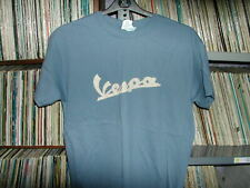 Vespa scooter logo T Shirt size Large in Slate Blue cream screen printed logo